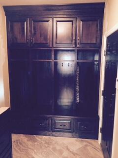 Wood Coat Rack Hutch Entryway Cabinet